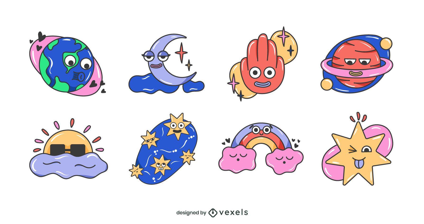 Space cartoons set design