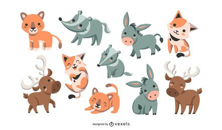 Cute animals set design