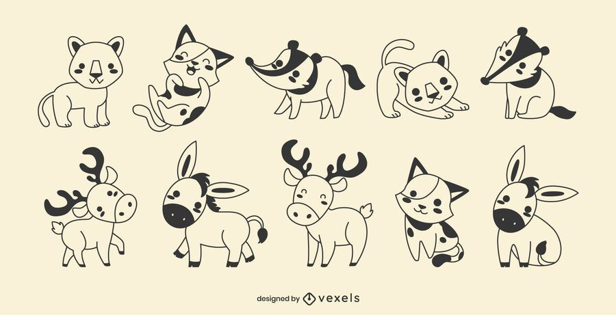 Cute animals filled stroke set