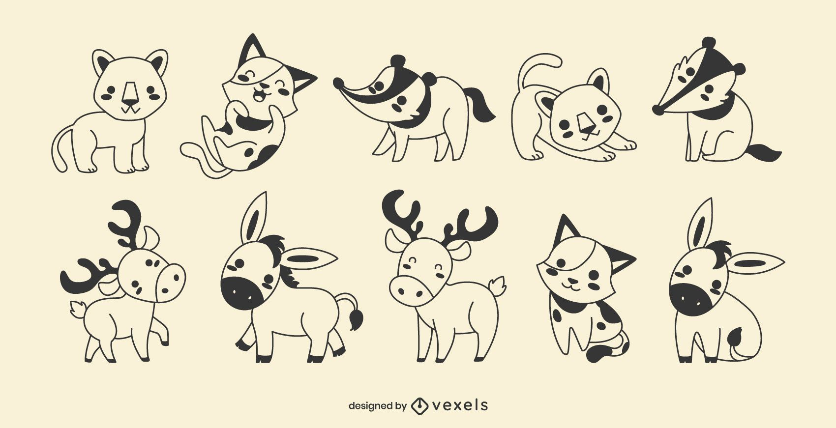 Cute animals filled stroke set