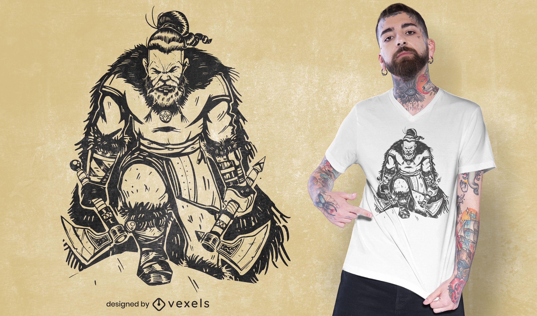 Diseño de camiseta vikinga con hachas.