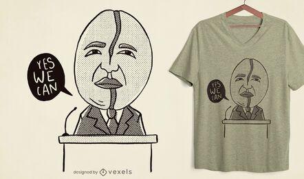 Diseño de camiseta de Obama en grano de café