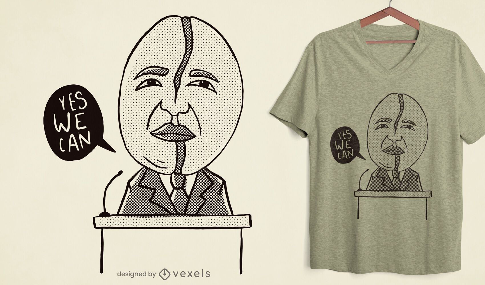 Dise?o de camiseta de Obama en grano de caf?