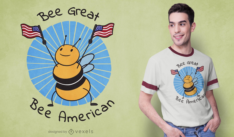 Diseño de camiseta Bee American