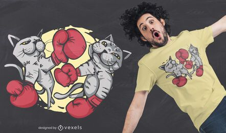 Diseño de camiseta de gatos de boxeo.