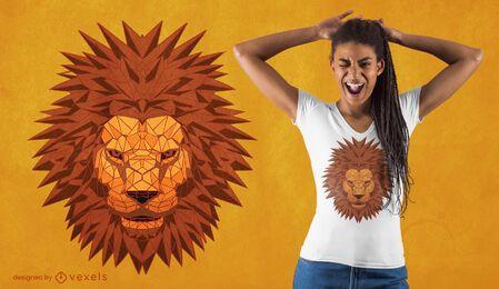 Diseño de camiseta poligonal de cabeza de león.