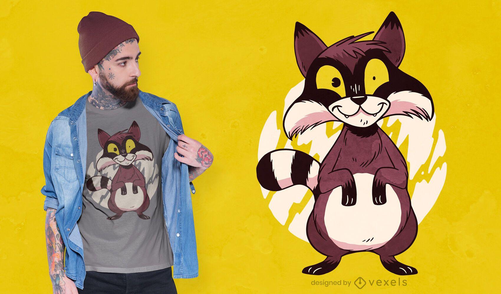 Raccoon cartoon t-shirt design