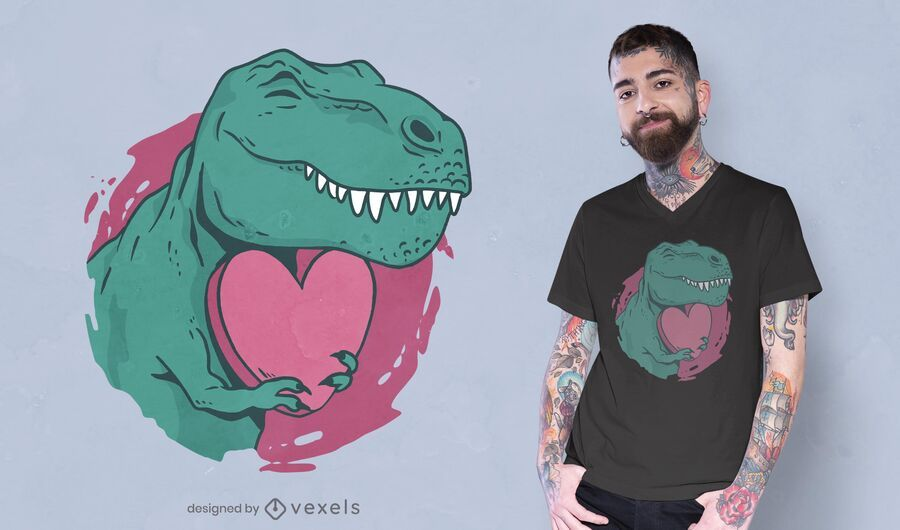 Diseño de camiseta Valentine's T-Rex