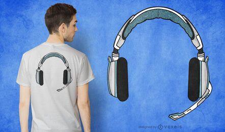 Design de t-shirt para auscultadores para jogadores