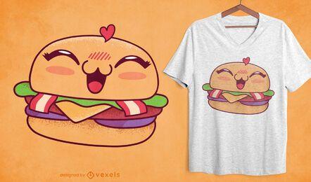 Diseño de camiseta de hamburguesa kawaii