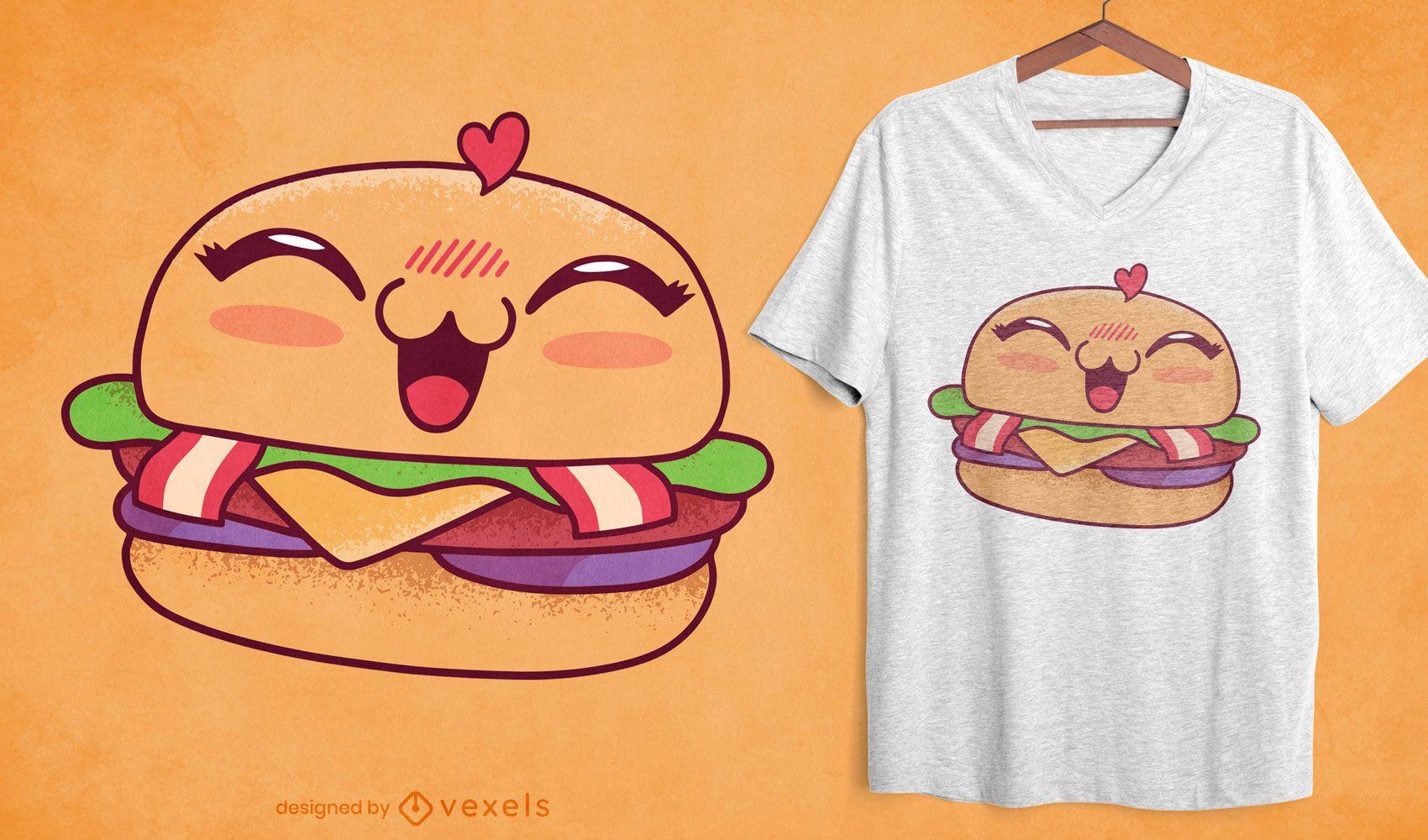 Kawaii burger t-shirt design