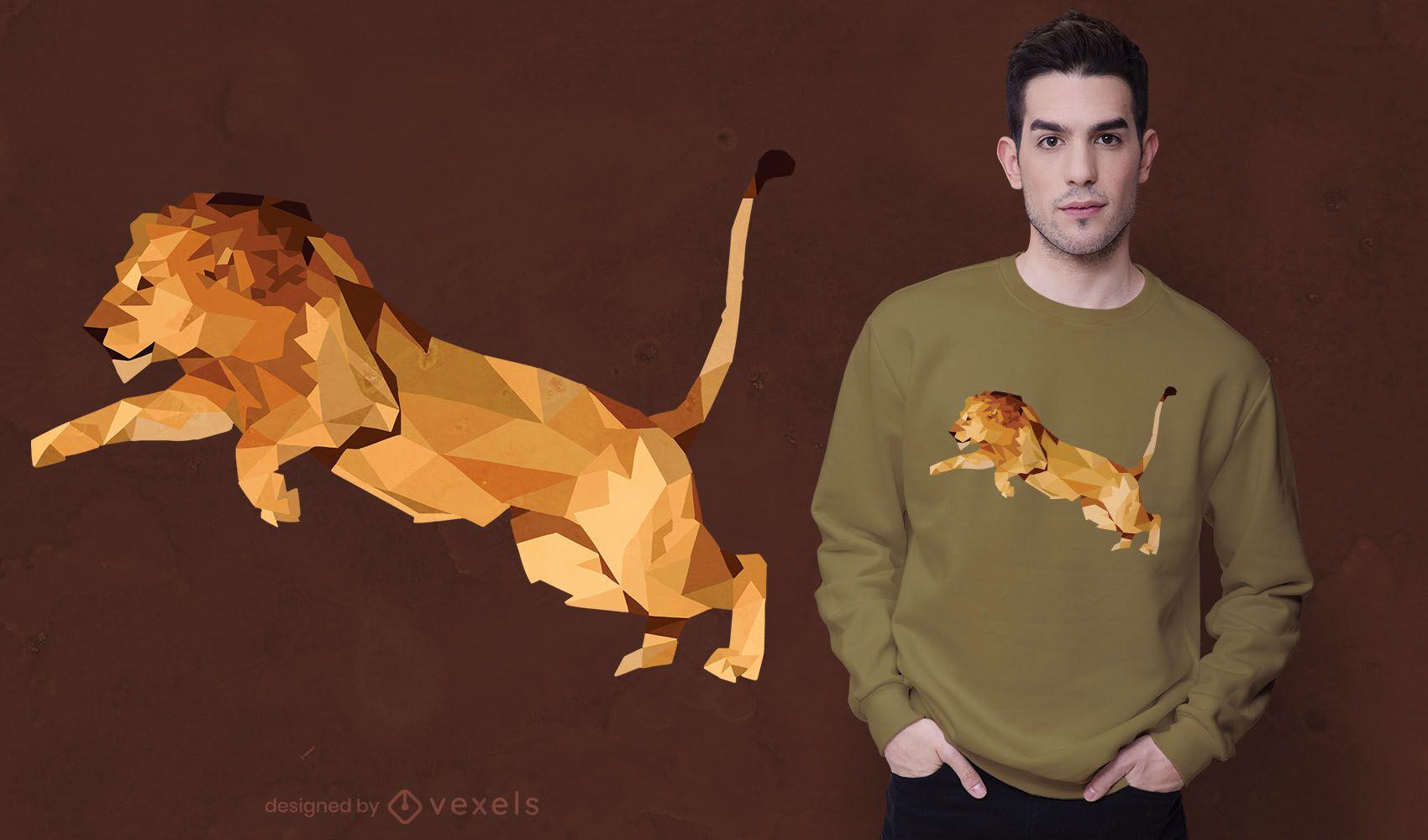 Diseño de camiseta low poly lion