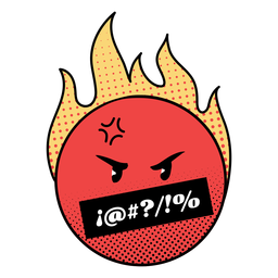 Emoji llameante enojado