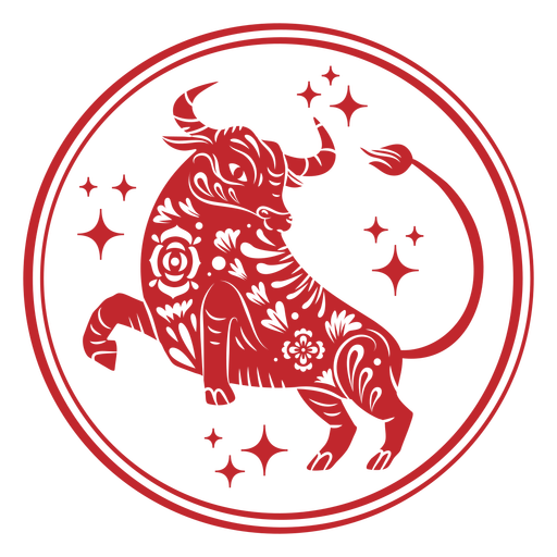 Chinese new year ox sparkles papercut