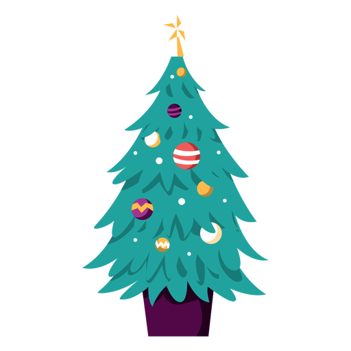 Christmas tree decorated illustration Transparent PNG