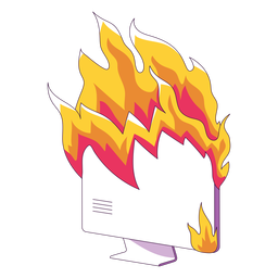 Computer on fire illustration