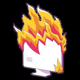 Ilustração de computador em chamas