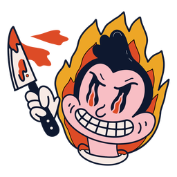 Crazy fire man character