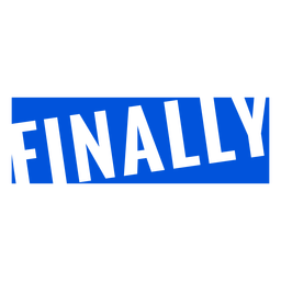 Finally blue lettering