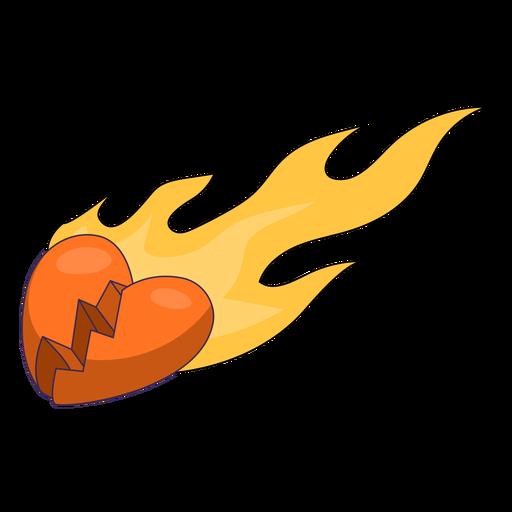Corazón roto llameante