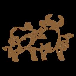 Traço chinês de boi floral