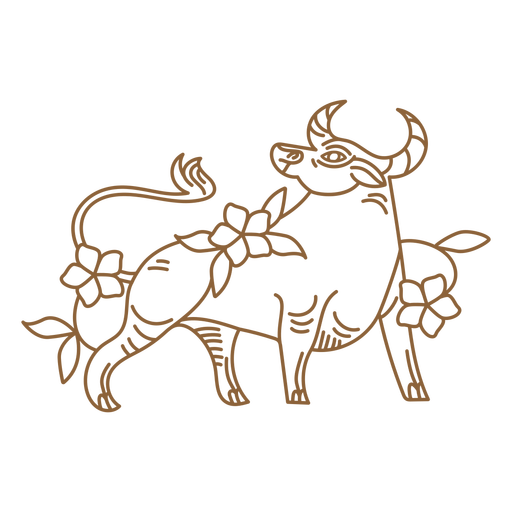 Floral ox chinese stroke