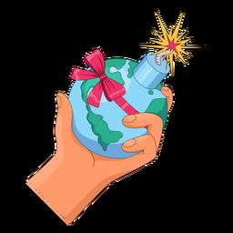 Mano sosteniendo la ilustración de la bomba mundial