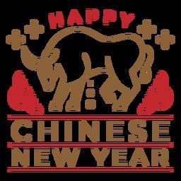 Distintivo de boi feliz ano novo chinês