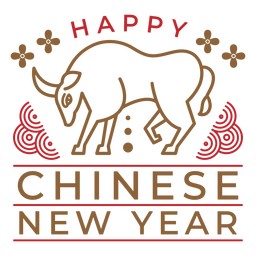 Happy chinese new year ox badge