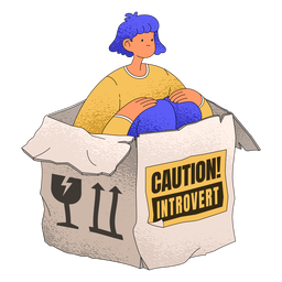 Introvert girl box character