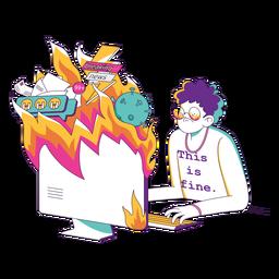 Man flaming computer character