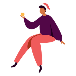 Man with champagne glass character