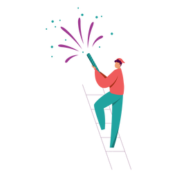Man with fireworks character