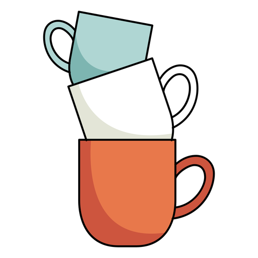 Mugs tower illustration