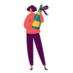 Woman with champagne character
