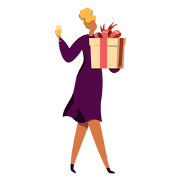 Woman with present character
