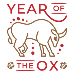 Year of the ox animal badge