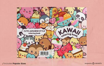 Kawaii animals book cover design