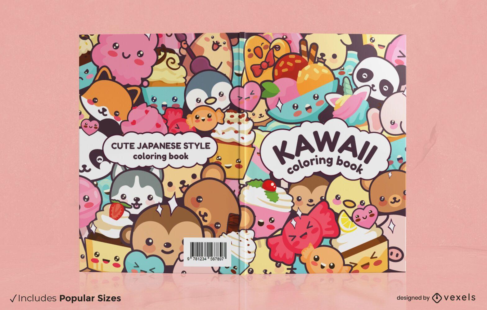 Design da capa do livro dos animais Kawaii