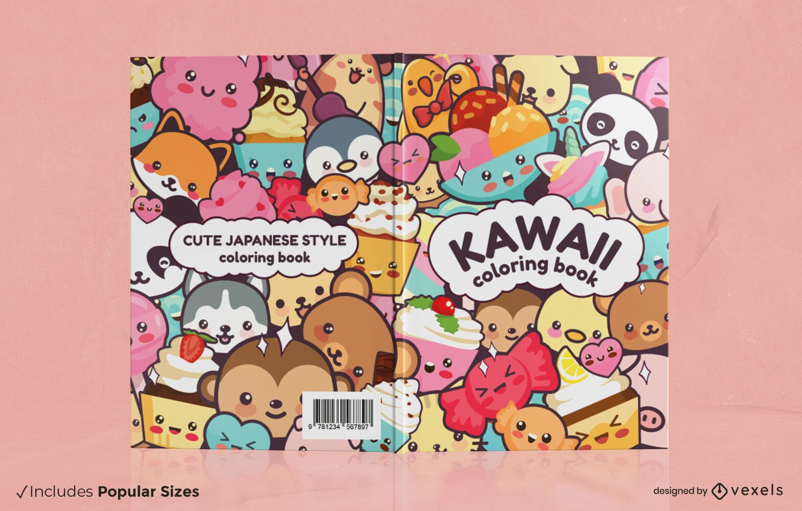 Diseño de portada de libro de animales kawaii
