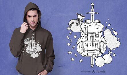 Diseño de camiseta de mochila aventurero.