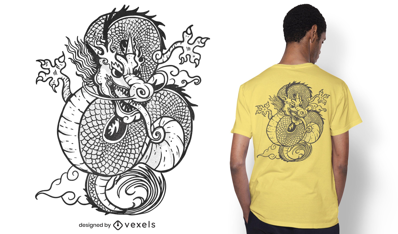 Desenho de camiseta com dragão chinês desenhado à mão