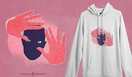Diseño de camiseta de manos y rostro.