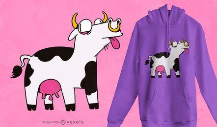 Diseño de camiseta de vaca loca
