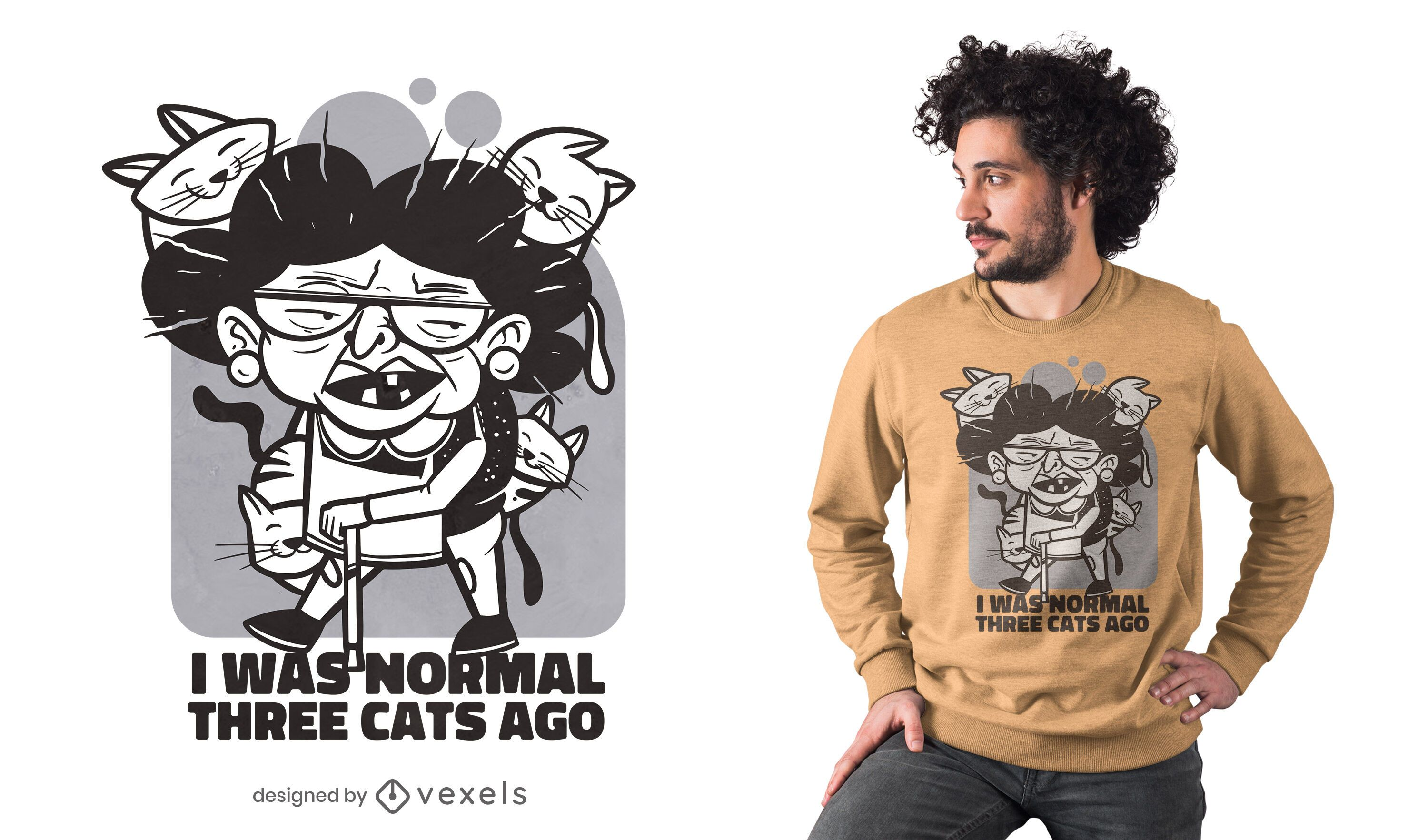 Old woman cats t-shirt design