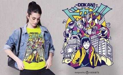 Diseño de camiseta de monstruos destruyendo ciudad.