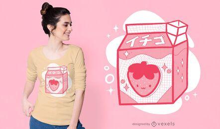 Design de camiseta japonesa com leite de morango