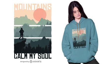 Montanhas acalmam minha alma design de camisetas