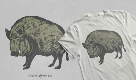 Diseño de camiseta de jabalí