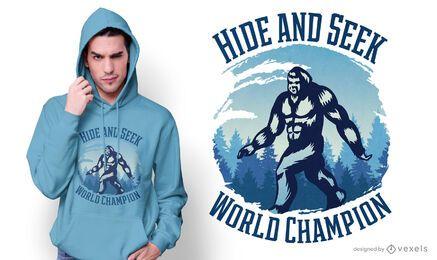 Design de camiseta do Bigfoot esconde-esconde